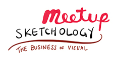 Meetup Sketchology logo, the business of visual byline