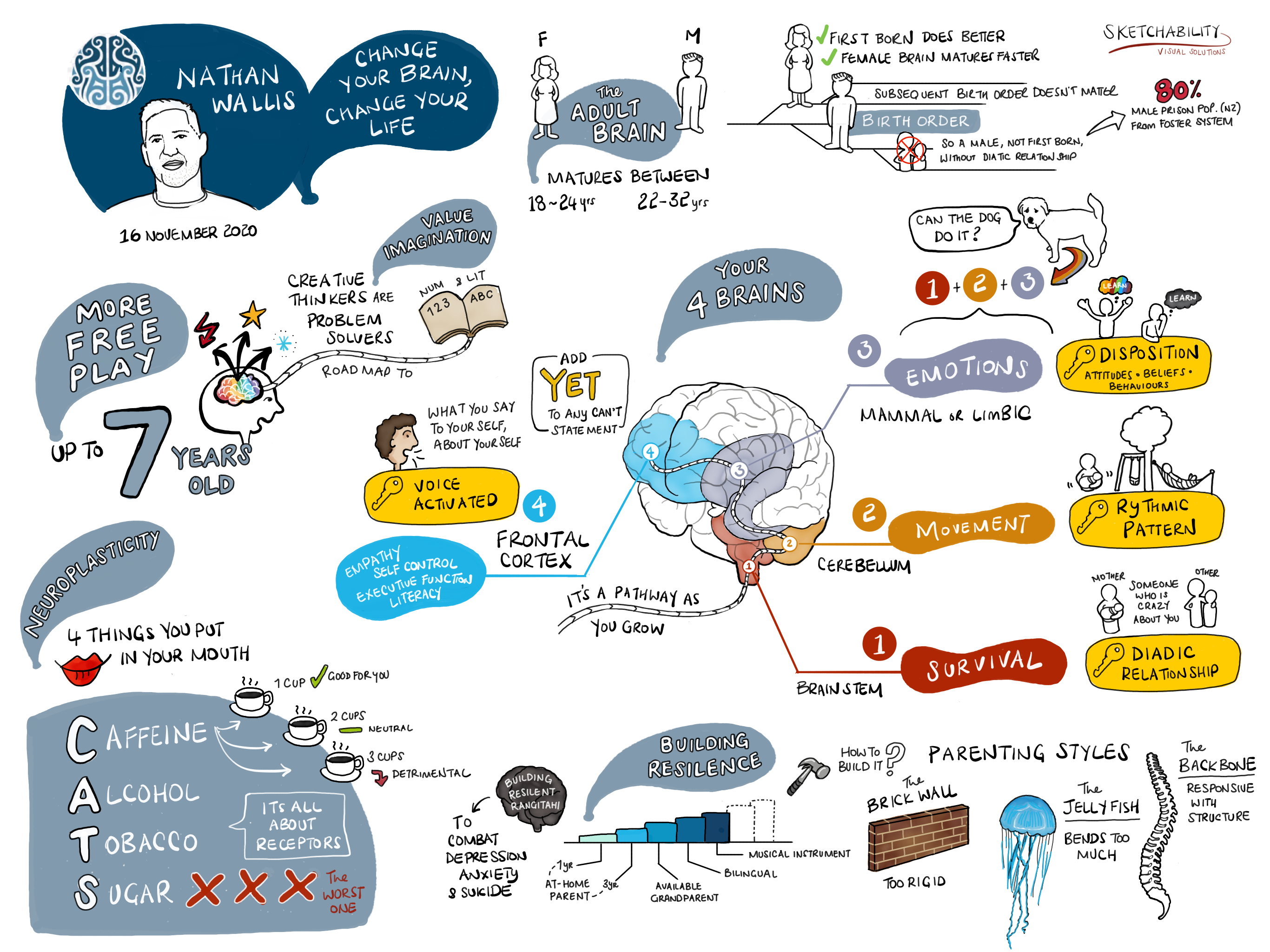 Visual sketchnote from a workshop with Nathan Wallis called 'Change your brain, change your life.'